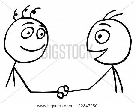 Cartoon vector of two friendly men shaking their hands.