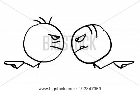 Cartoon vector of two angry man pointing their hands in opposite different directions