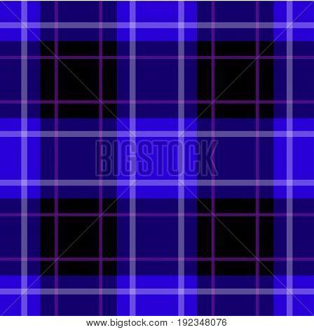 seamless illustration - blue black tartan with white and purple stripes