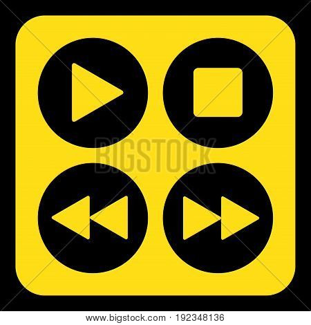 yellow rounded square information road sign with black four music control buttons icon and frame