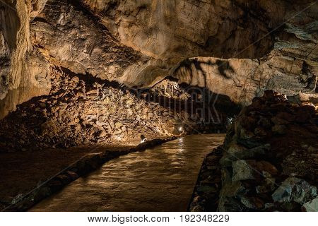 Interior of the Katerinska cave in the Moravian Karst. Czech Republic