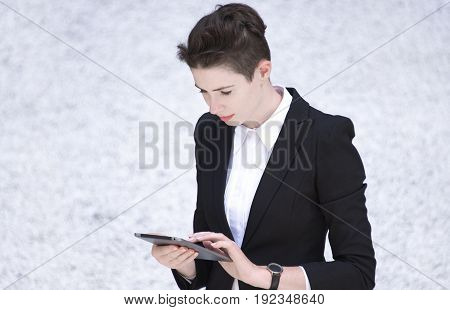 Modern Business Woman Holding Tablet