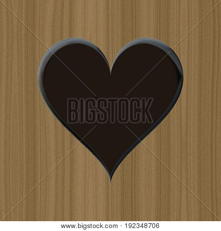 Dark black 3d flat heart illustrationm wooden background