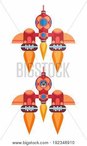 Flat orange rocket with an astronaut dog pug vector