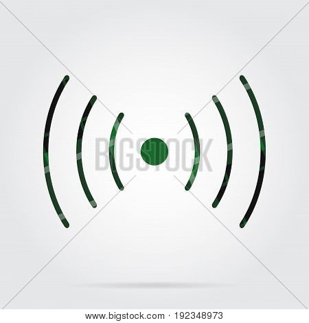 green black isolated tartan icon with white stripes - sound or vibration symbol and shadow in front of a gray background