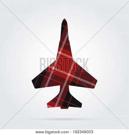 red black isolated tartan icon with white stripes - fighter and shadow in front of a gray background