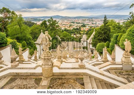 View at the Braga city from stairway Via Sacra of Bom Jesus do Monte sanctuary in Tenoes - Portugal