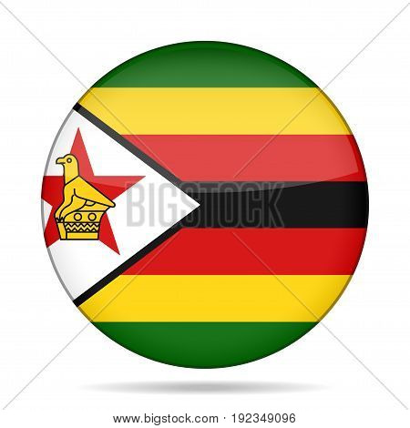 National flag of Zimbabwe. Shiny round button with shadow.