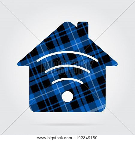 blue black isolated tartan icon with white stripes - house with signal and shadow in front of a gray background