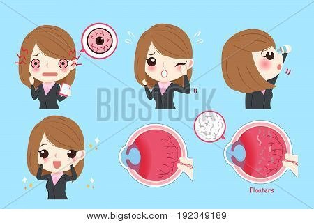 cartoon businesswoman with eye problem on green background