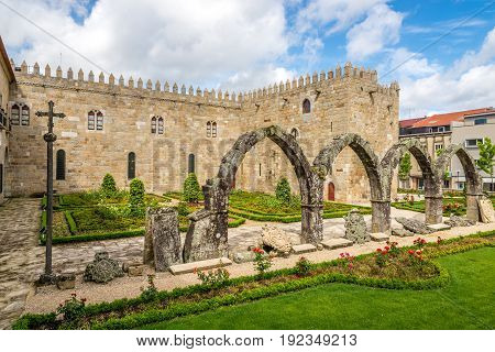 View at the ruins in Archbishops Court garden in Braga - Portugal