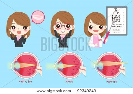 businesswoman with eye health concept on blue background