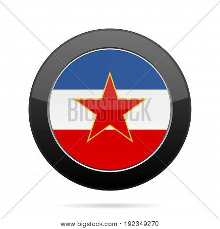 National flag of Yugoslavia. Shiny black round button with shadow.