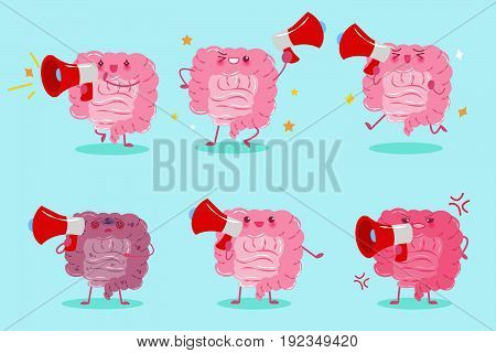 cute cartoon intestine take microphone on the green background