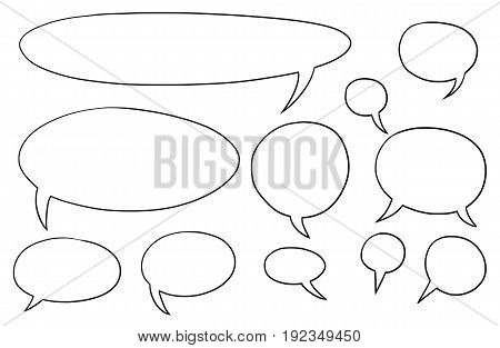 Set of vector speech text bubbles in oval shape
