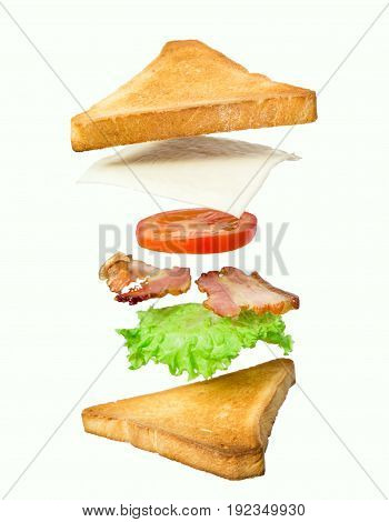 Fresh sandwich with flying ingredients isolated on white background. concept. vertical