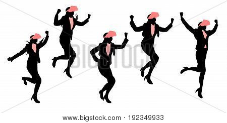 silhouette of businesswoman wear vr and feel excited