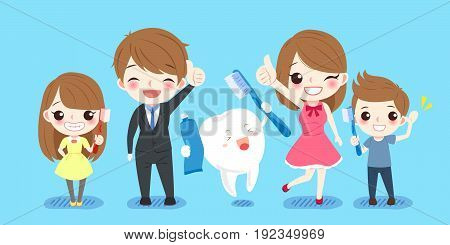 cute cartoon family with tooth on the balue background