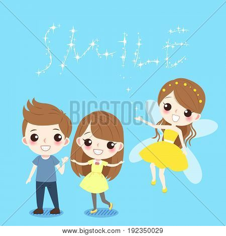 cute cartoon children with tooth fairy on the blue background