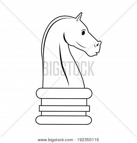 Chess knight, strategy icon suitable for info graphics, websites and print media and interfaces. Hand drawn style, line, vector icon.