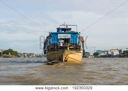 A Big Cargo Boat On The Mekong River