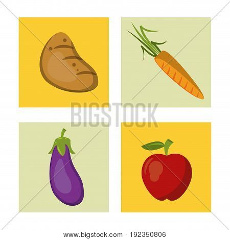 white background with colorful squares with potato and carrot and eggplant and apple vector illustration