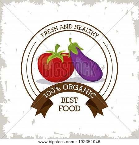 colorful logo of fresh and healthy organic food with tomato and eggplant vector illustration