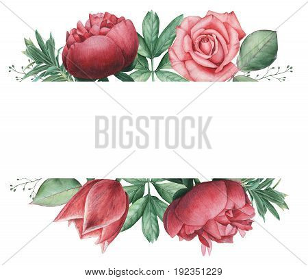 Hand painted watercolor charming combination of Flowers and Leaves, isolated on white background, Perfect for wedding, frame, quotes, pattern, greeting card, logo, invitations, lettering etc.