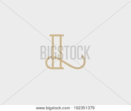 Elegant line curve vector logotype. Premium letter L logo design. Luxury linear creative monogram