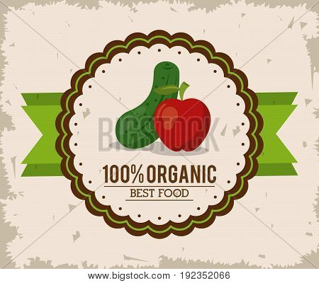 colorful logo of organic best food with cucumber and apple vector illustration