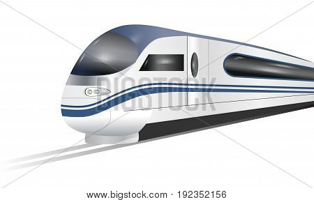 Super streamlined high-speed train isolated on white background. Concept railway tourism transportation and railroad travel. Vector illustration.