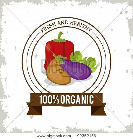 colorful logo of fresh and healthy organic food with peppers potato and eggplant vector illustration