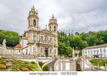 TENOES,PORTUGAL - MAY 14,2017 - Sanctuary Bom Jesus do Monte in Tenoes near Braga in Portugal.The Sanctuary is a notable example of pilgrimage site with a monumental Baroque stairway.