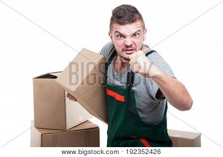 Angry Mover Man Holding Cardboard Showing Fist