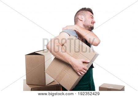 Mover Man Holding Cardboard Box And His Shoulder