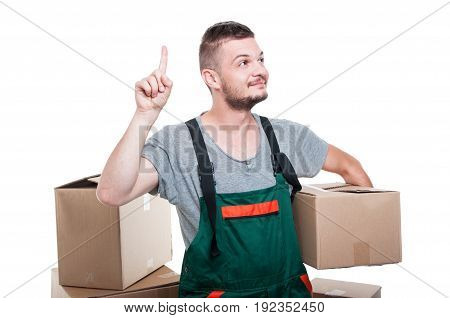 Mover Guy Holding Cardboard Box Gesturing Idea