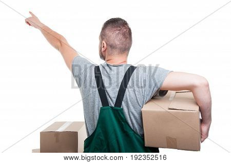 Back View Of Mover Guy Holding Box Pointing Up