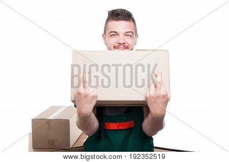 Smiling Mover Guy Holding Cardboard Box Showing Fingers Crossed