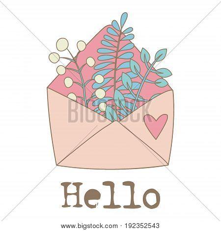 Flowers in pink envelope. Vector hand drawn illustration.