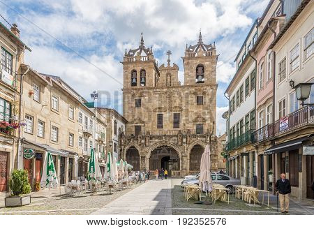 BRAGA,PORTUGAL - MAY 14,2017 - View at the street with Cathedral of Braga in Portugal. Braga was under the Roman Empire known as Bracara Augusta.