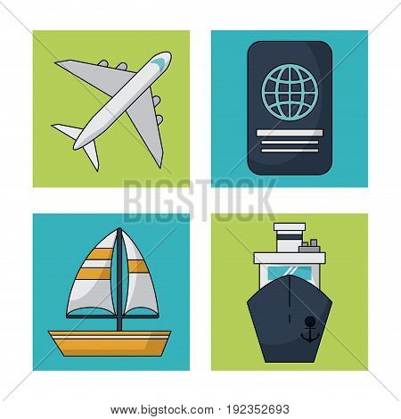 white background with colorful squares with traveling icons vector illustration