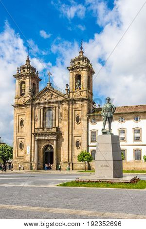 BRAGA,PORTUGAL - MAY 14,2017 - View at the Populo church in Braga. Braga was under the Roman Empire known as Bracara Augusta.