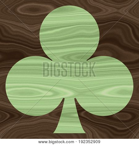 Ace leaf card symbol on wooden desk surface background