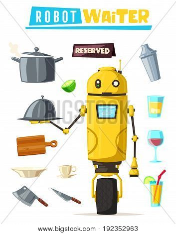 Funny robot waiter, cute character. Vector cartoon illustration. Future is now. Restaurant worker