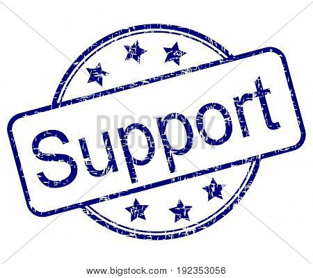 blue Support rubber stamp on white background -  illustration
