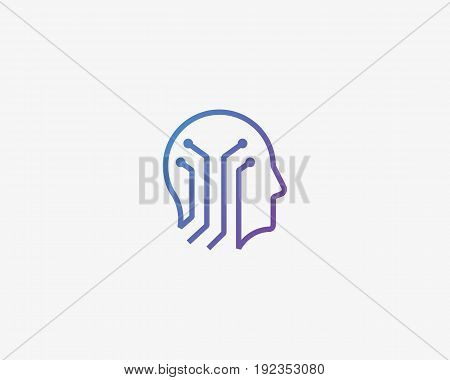 Human head brain vector logotype. Tech mind electronic education logo icon.