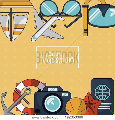 colorful background of enjoy vacation with anchor and flotation hoop and camera and passport