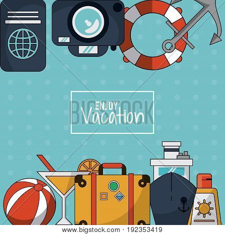 colorful background of enjoy vacation with luggage and cruise ship and cocktail and sunblock vector illustration