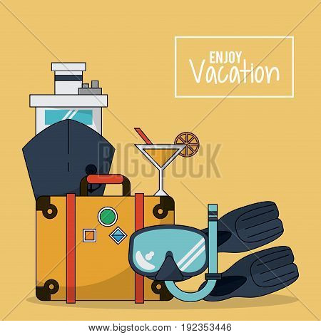 colorful background of enjoy vacation with luggage and cruise ship and cocktail and snorkel and fins vector illustration