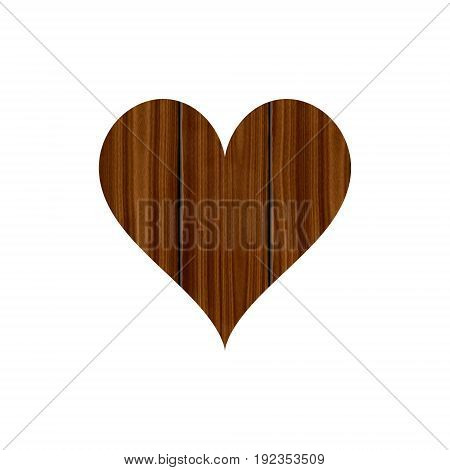 Wooden planked heart isolated on white background love rustic decor